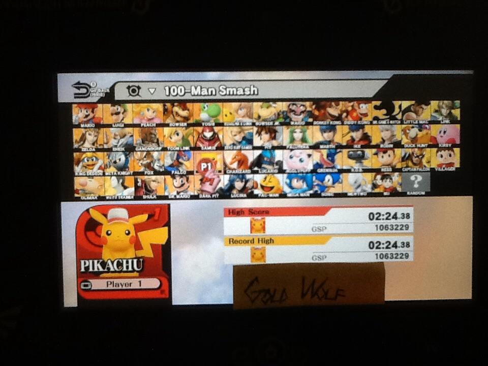 Super Smash Bros. for Wii U: 100-Man Smash: Pikachu time of 0:02:24.38
