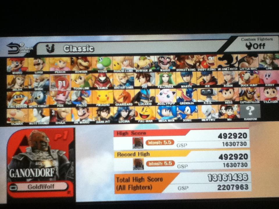 Super Smash Bros. for Wii U: Classic: Ganondorf 492,920 points