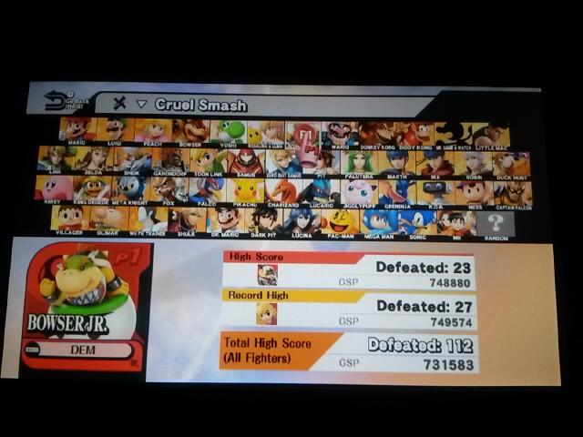 DarkEonMaster: Super Smash Bros. for Wii U: Cruel Smash: Bowser Jr. (Wii U) 23 points on 2016-12-12 23:37:04