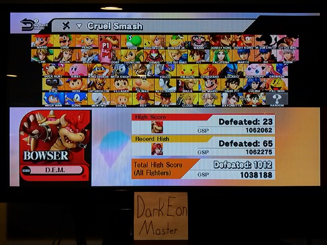 Super Smash Bros. for Wii U: Cruel Smash: Bowser 23 points
