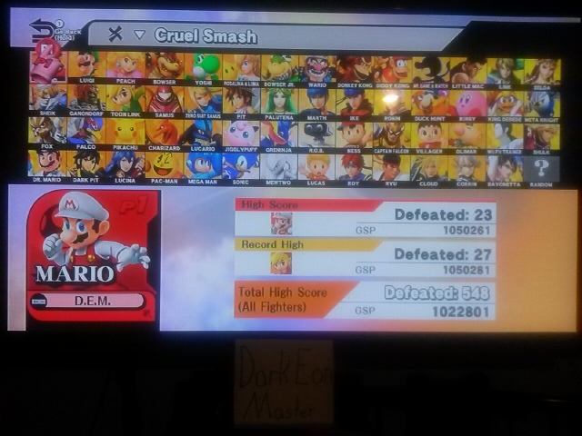 DarkEonMaster: Super Smash Bros. for Wii U: Cruel Smash: Mario (Wii U) 23 points on 2016-11-22 00:42:15
