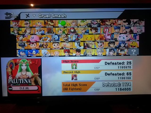 Super Smash Bros. for Wii U: Cruel Smash: Palutena 25 points
