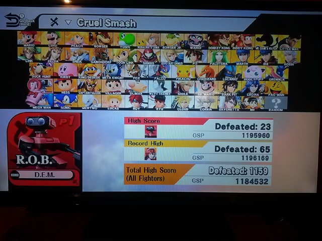 DarkEonMaster: Super Smash Bros. for Wii U: Cruel Smash: R.O.B. (Wii U) 23 points on 2018-01-09 23:42:44