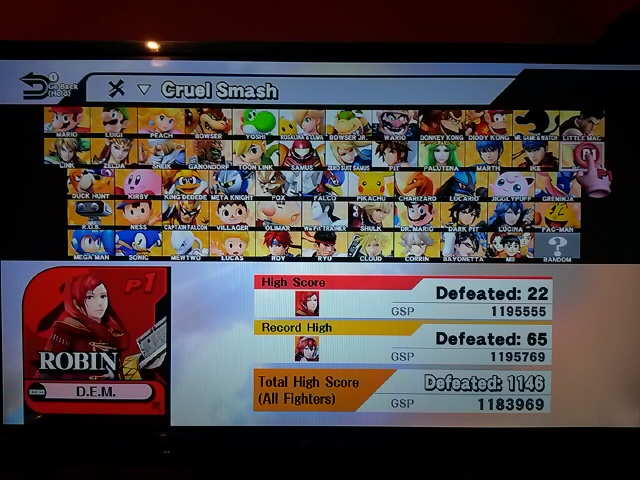 DarkEonMaster: Super Smash Bros. for Wii U: Cruel Smash: Robin (Wii U) 22 points on 2018-01-07 01:13:42