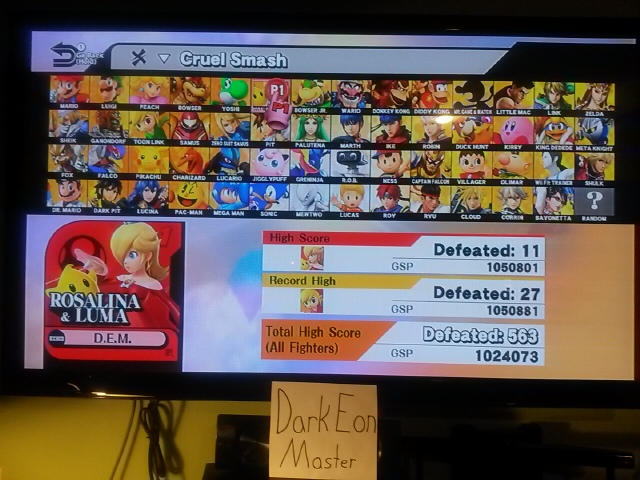 Super Smash Bros. for Wii U: Cruel Smash: Rosalina & Luma 11 points