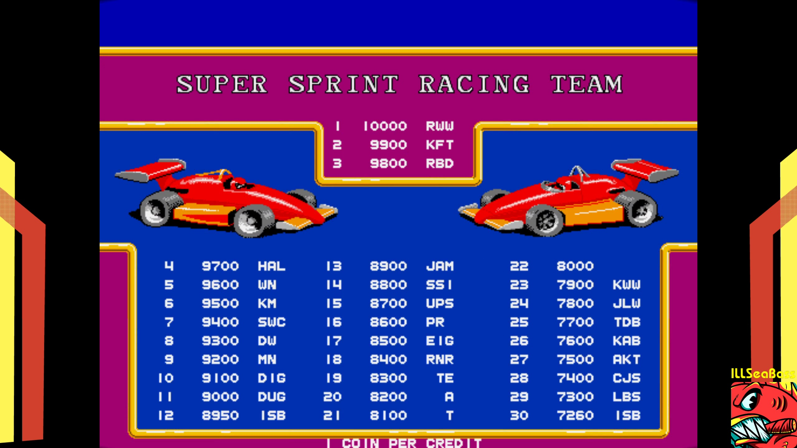 ILLSeaBass: Super Sprint [ssprint] (Arcade Emulated / M.A.M.E.) 8,950 points on 2018-02-06 00:43:27