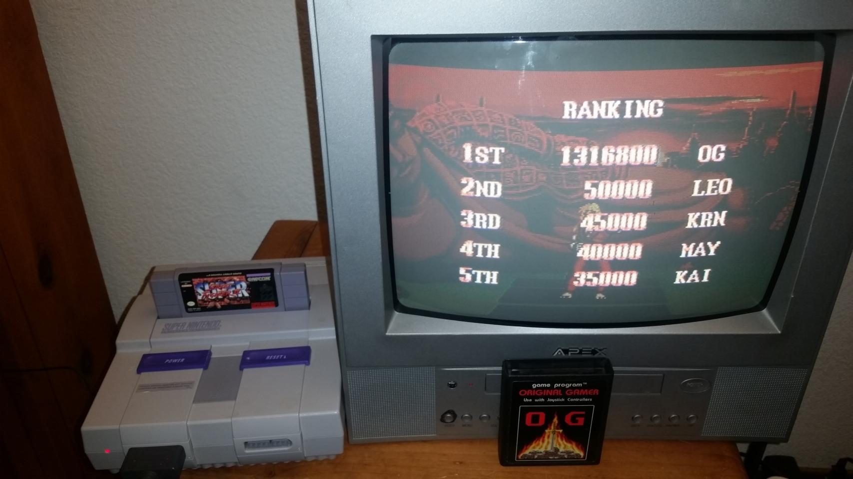 OriginalGamer: Super Street Fighter II: The New Challengers [Super Battle: Difficulty 1] (SNES/Super Famicom) 1,316,800 points on 2017-12-17 00:08:59