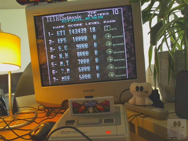 GTibel: Super Tetris 3 [Tetris Classic-Endless Mode] (SNES/Super Famicom) 143,439 points on 2019-08-15 03:46:53