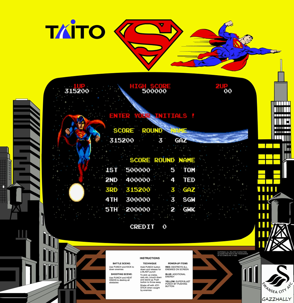 gazzhally: Superman [superman] (Arcade Emulated / M.A.M.E.) 315,200 points on 2017-02-05 04:58:44