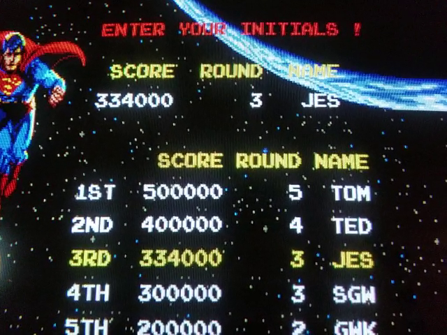 JES: Superman [superman] (Arcade Emulated / M.A.M.E.) 334,000 points on 2019-01-10 03:21:30