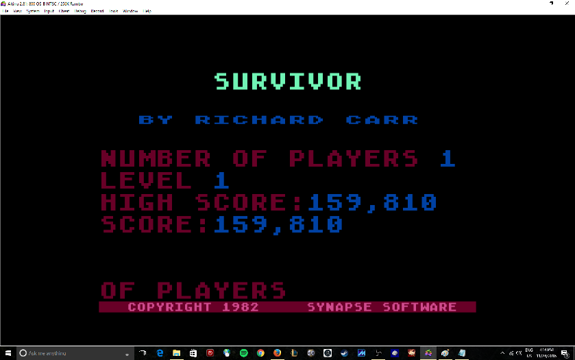 MikeDietrich: Survivor (Atari 400/800/XL/XE Emulated) 159,810 points on 2016-11-24 19:19:46