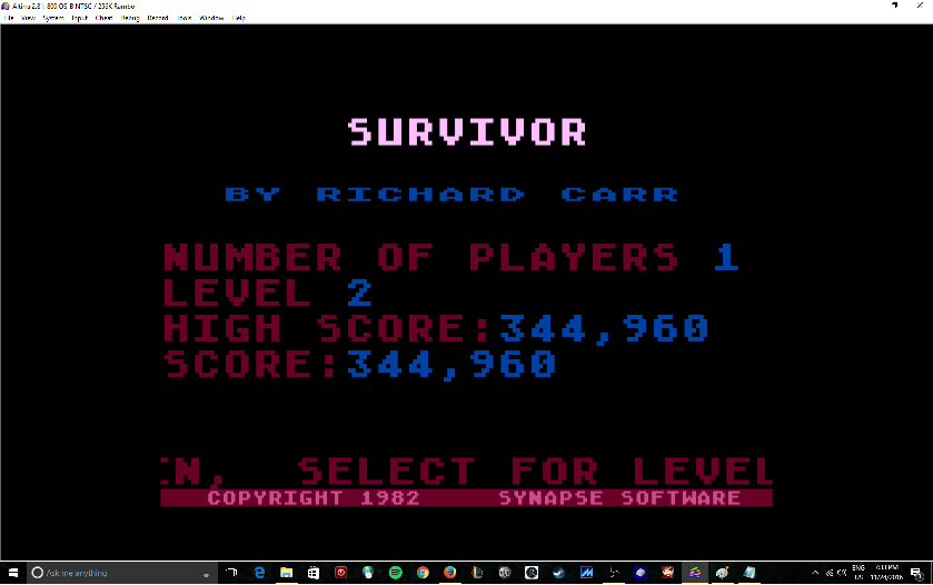 MikeDietrich: Survivor:  Skill 2 (Atari 400/800/XL/XE Emulated) 344,960 points on 2016-11-24 19:35:40
