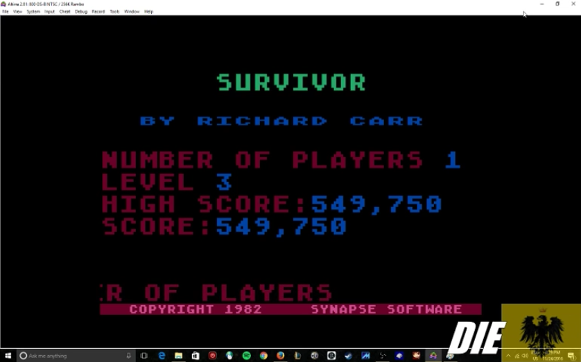 MikeDietrich: Survivor:  Skill 3 (Atari 400/800/XL/XE Emulated) 549,750 points on 2016-11-24 20:51:04