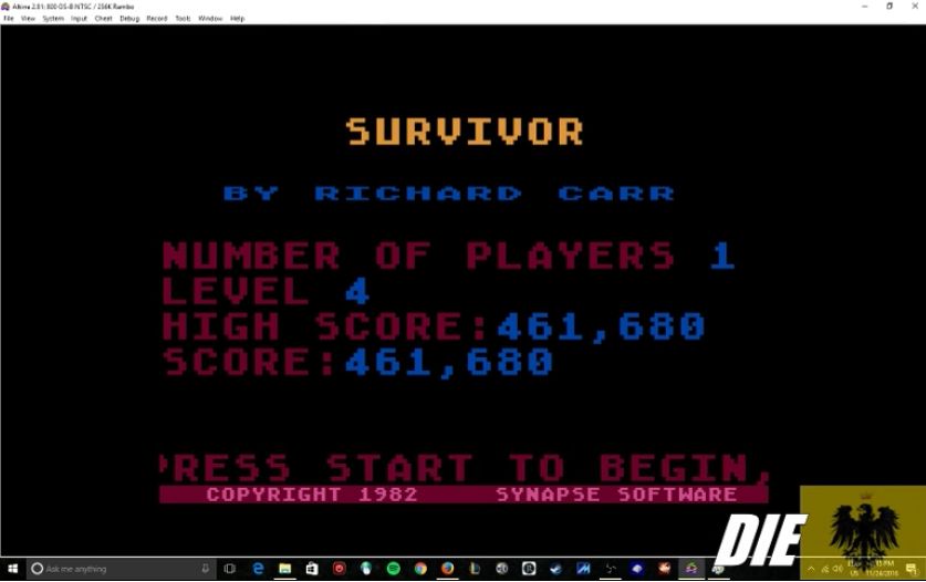 MikeDietrich: Survivor:  Skill 4 (Atari 400/800/XL/XE Emulated) 461,680 points on 2016-11-24 20:56:00