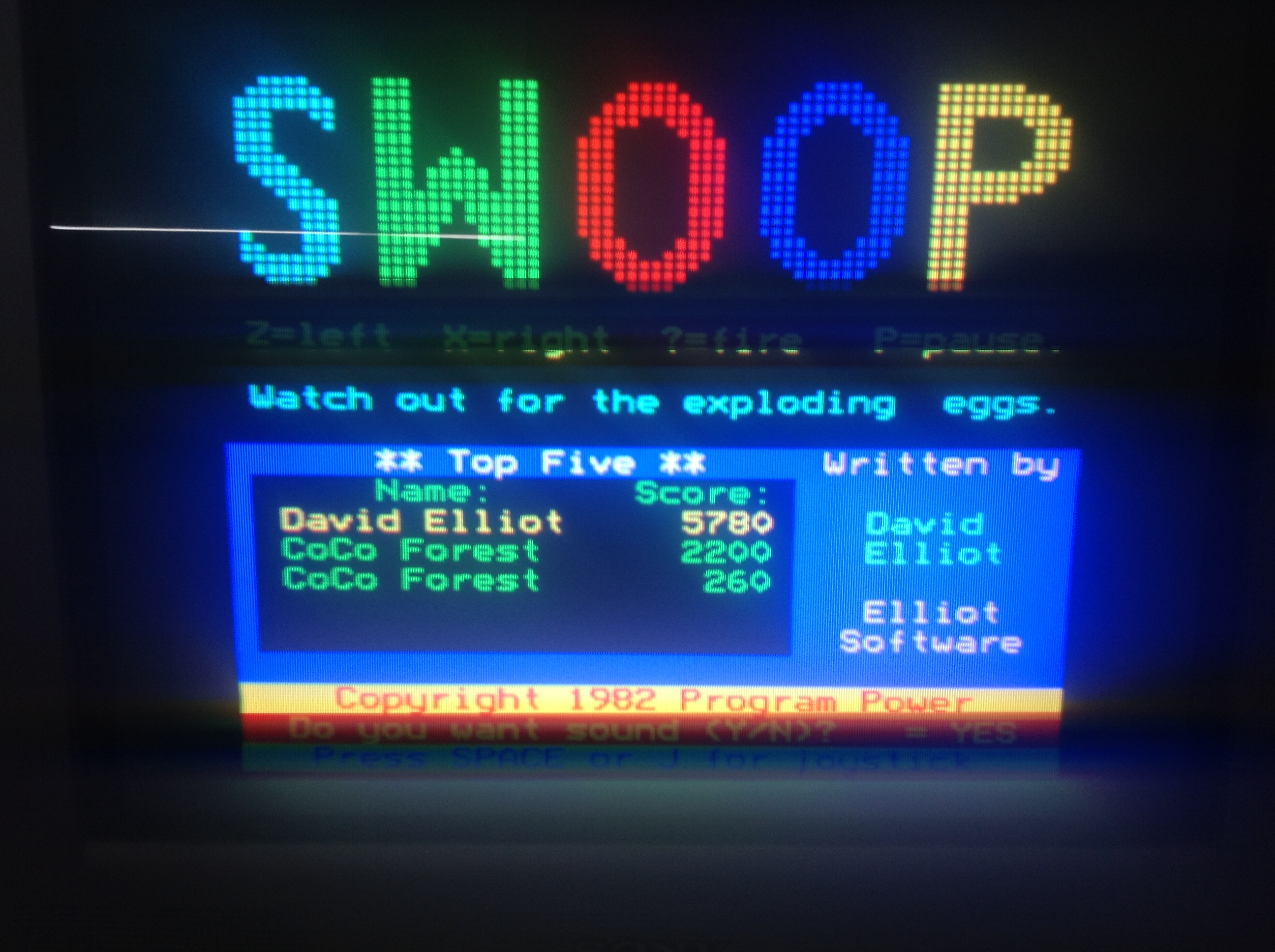 CoCoForest: Swoop (BBC Micro) 2,200 points on 2018-07-02 07:50:14