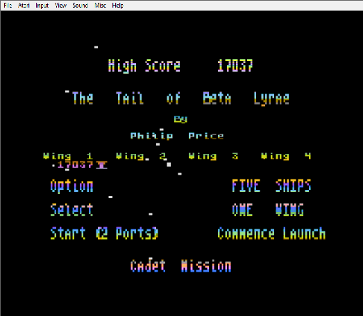 MikeDietrich: Tail of Beta Lyrae [Five Ships] (Atari 400/800/XL/XE Emulated) 17,037 points on 2016-10-23 18:31:55