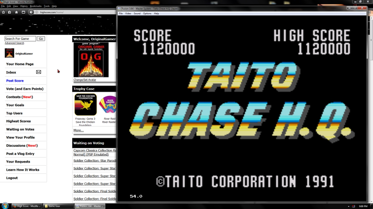 OriginalGamer: Taito Chase H.Q. (Sega Game Gear Emulated) 1,120,000 points on 2018-03-15 17:18:36