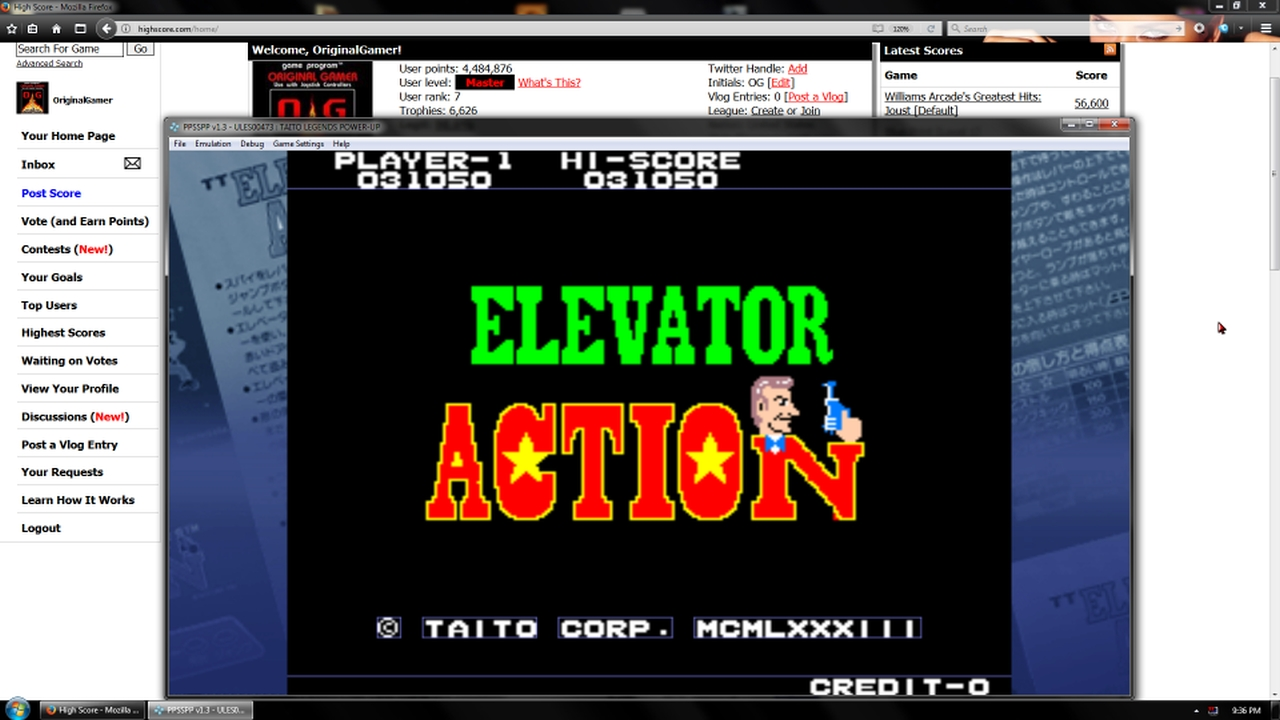 OriginalGamer: Taito Legends: Power-Up: Elevator Action (PSP Emulated) 31,050 points on 2018-01-30 22:07:34