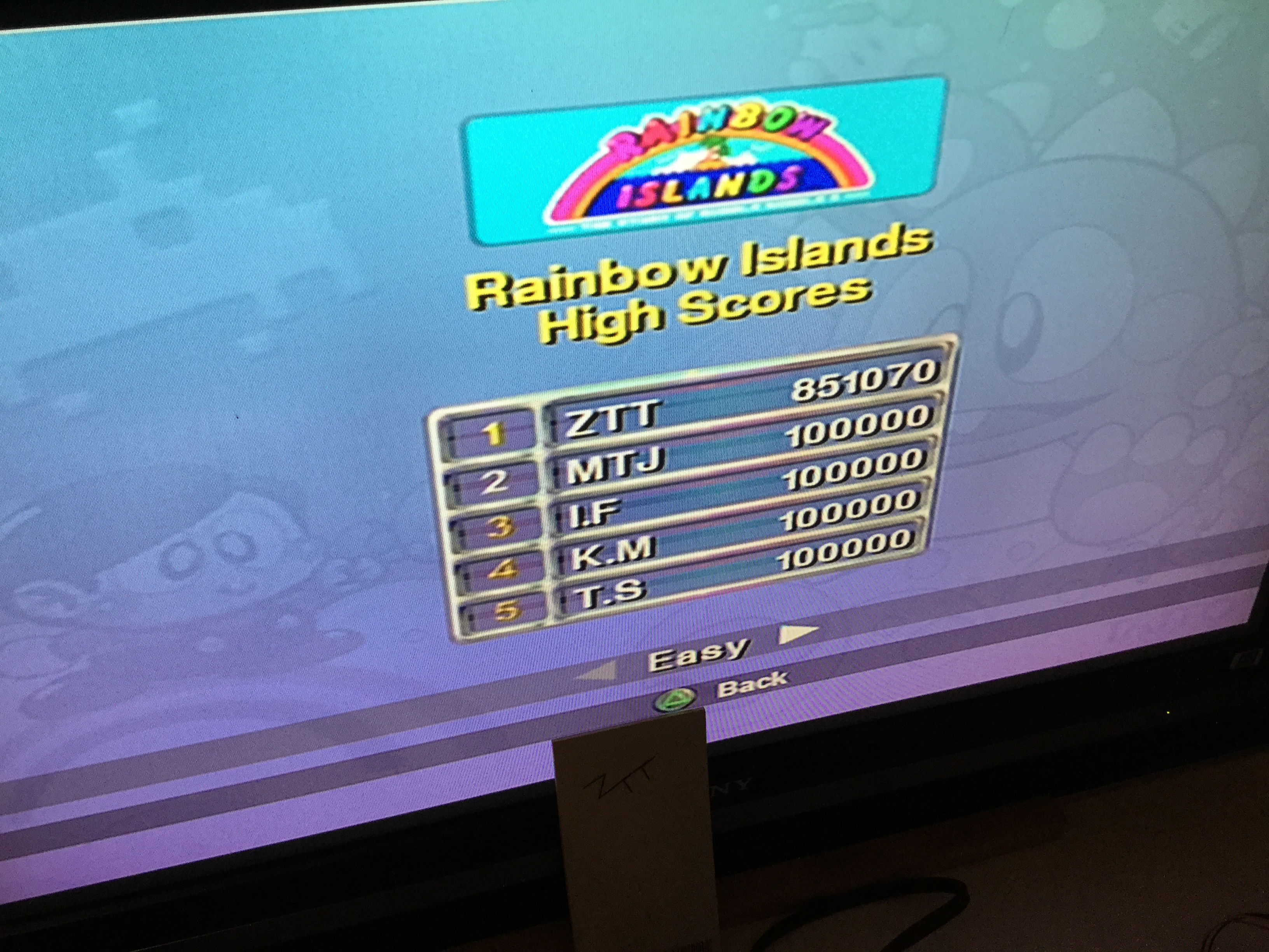 Frankie: Taito Legends: Rainbow Islands [Easy] (Playstation 2) 851,070 points on 2018-03-23 13:16:23