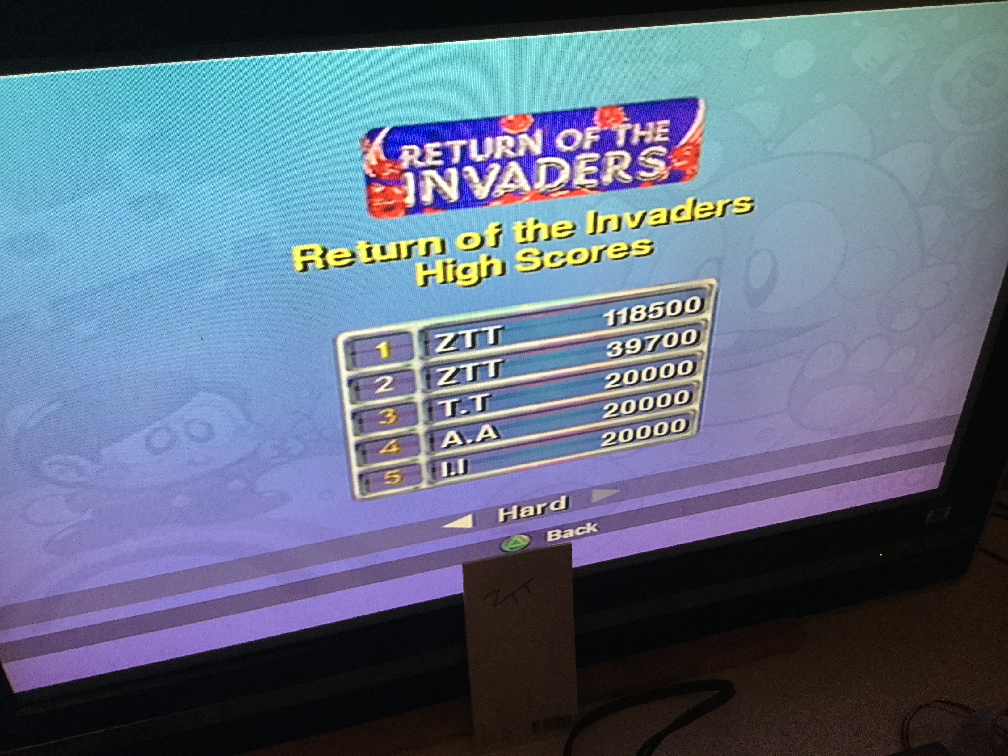 Frankie: Taito Legends: Return Of The Invaders [Difficult] (Playstation 2) 118,500 points on 2018-03-28 13:14:08
