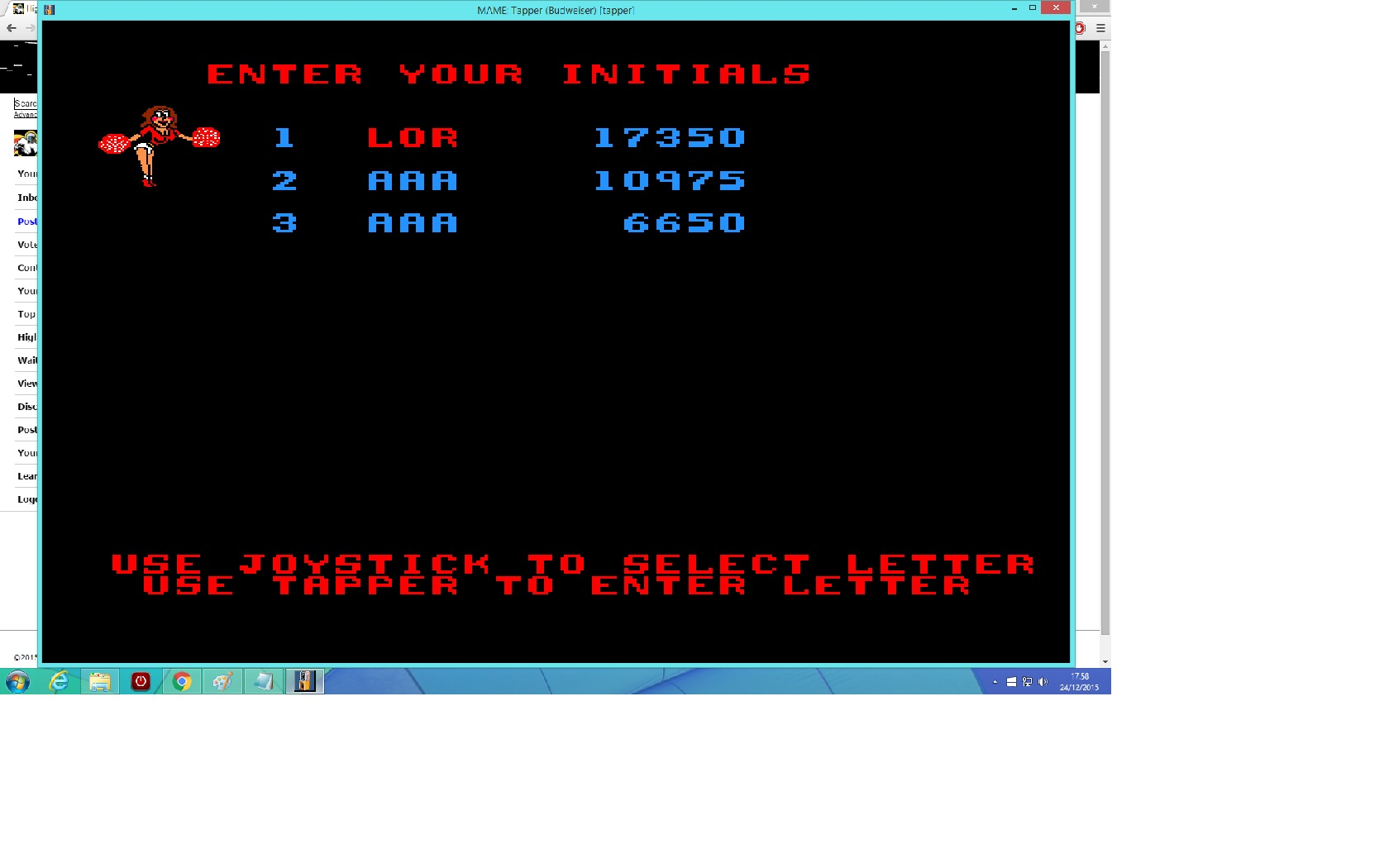 lenny2571: Tapper (Arcade Emulated / M.A.M.E.) 17,350 points on 2015-12-24 10:58:54