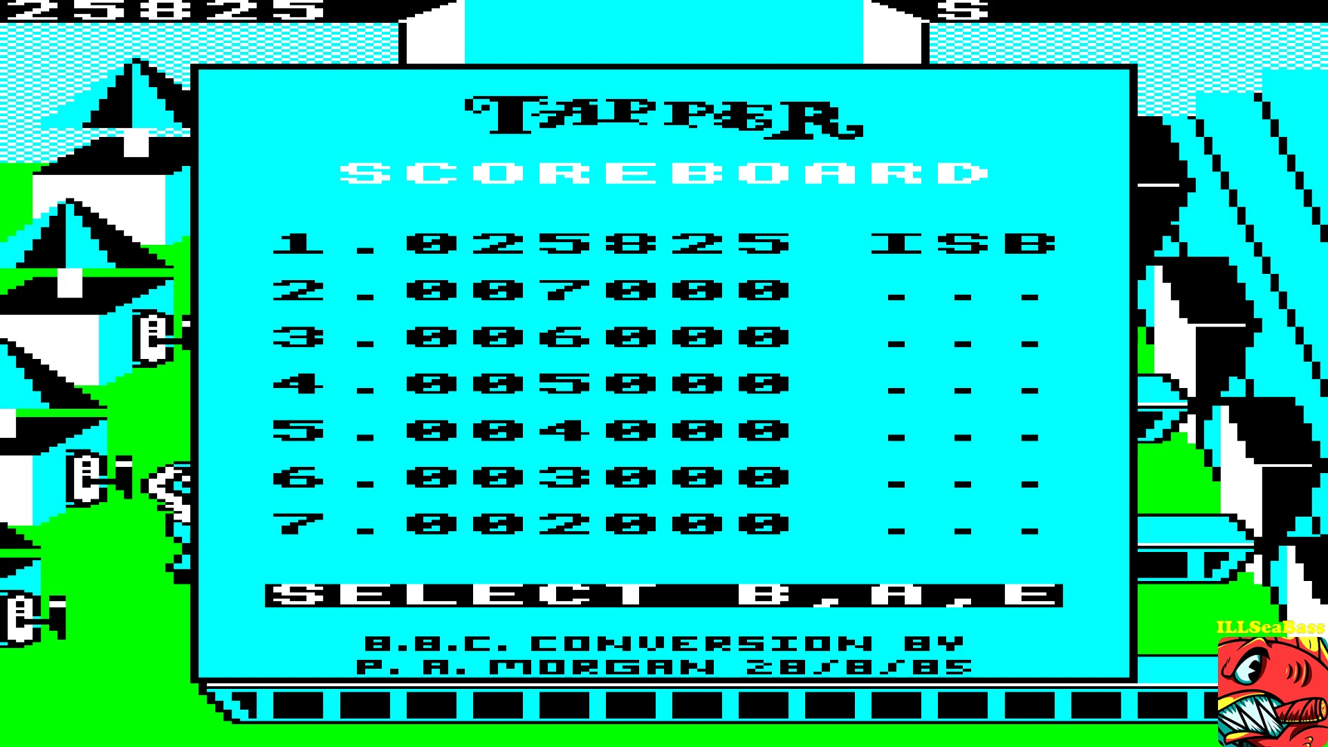 ILLSeaBass: Tapper (BBC Micro Emulated) 25,825 points on 2017-10-08 15:00:38