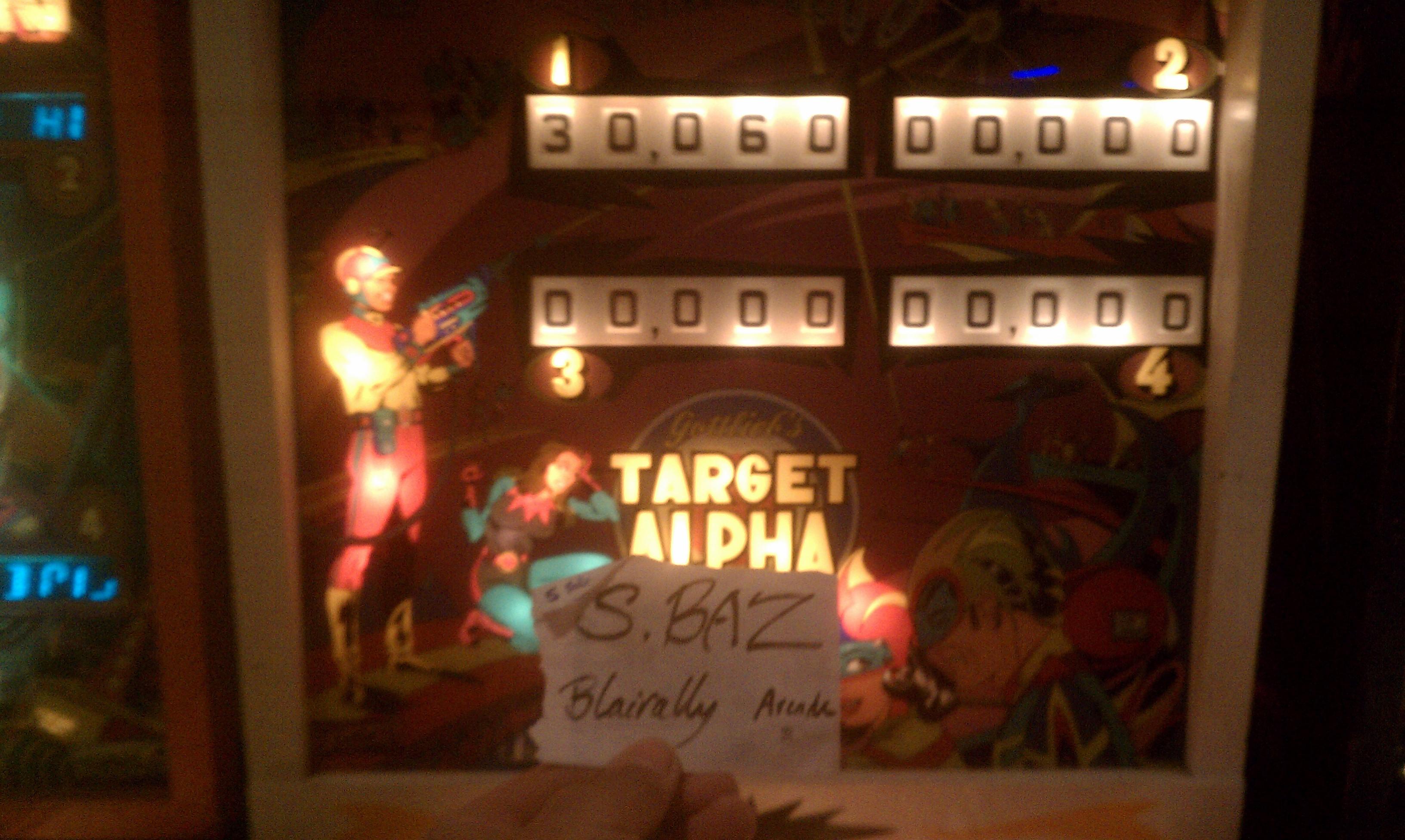 S.BAZ: Target Alpha (Pinball: 5 Balls) 30,060 points on 2019-11-24 19:37:38