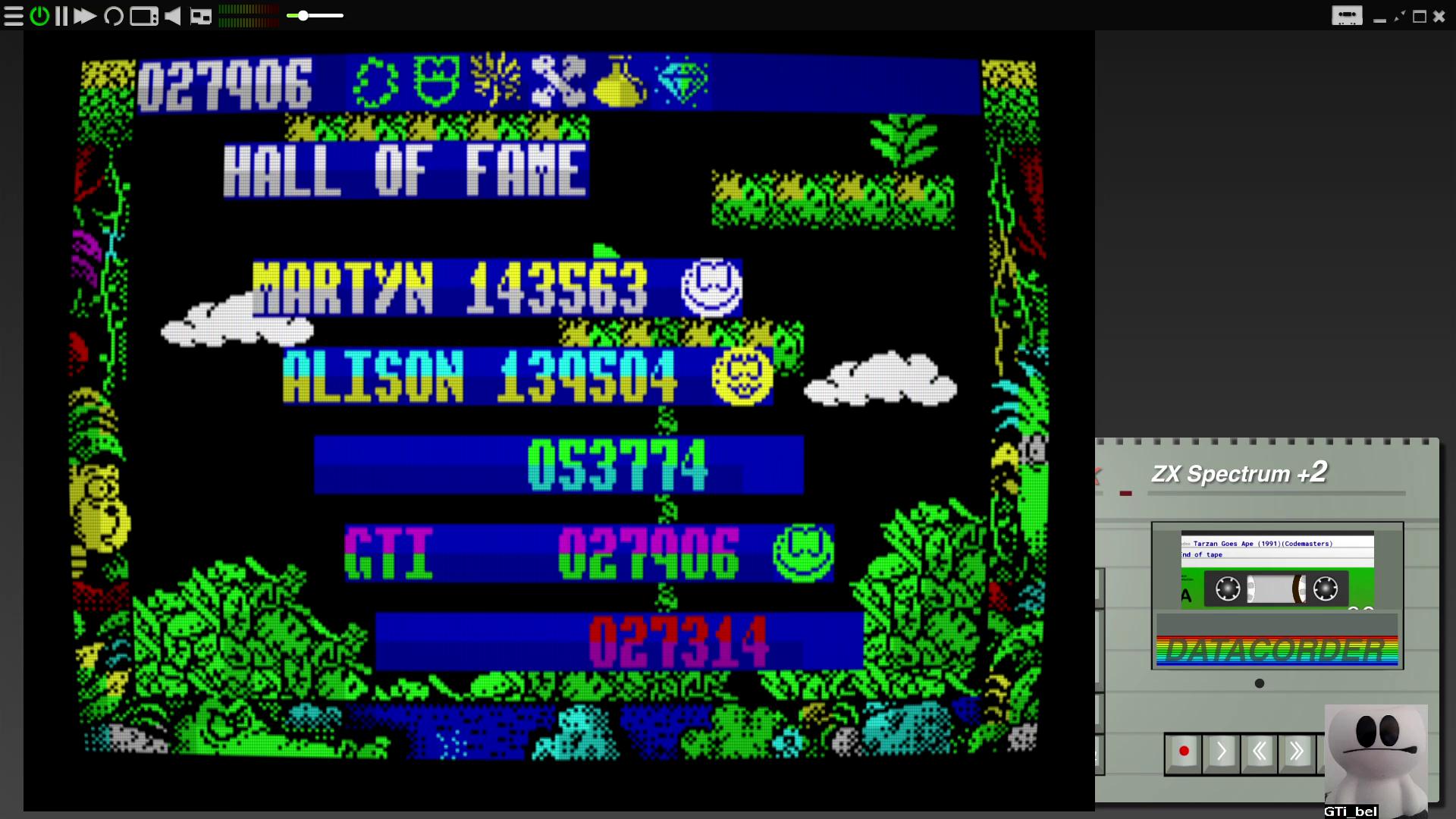 GTibel: Tarzan Goes Ape (ZX Spectrum Emulated) 27,906 points on 2020-08-06 06:28:38
