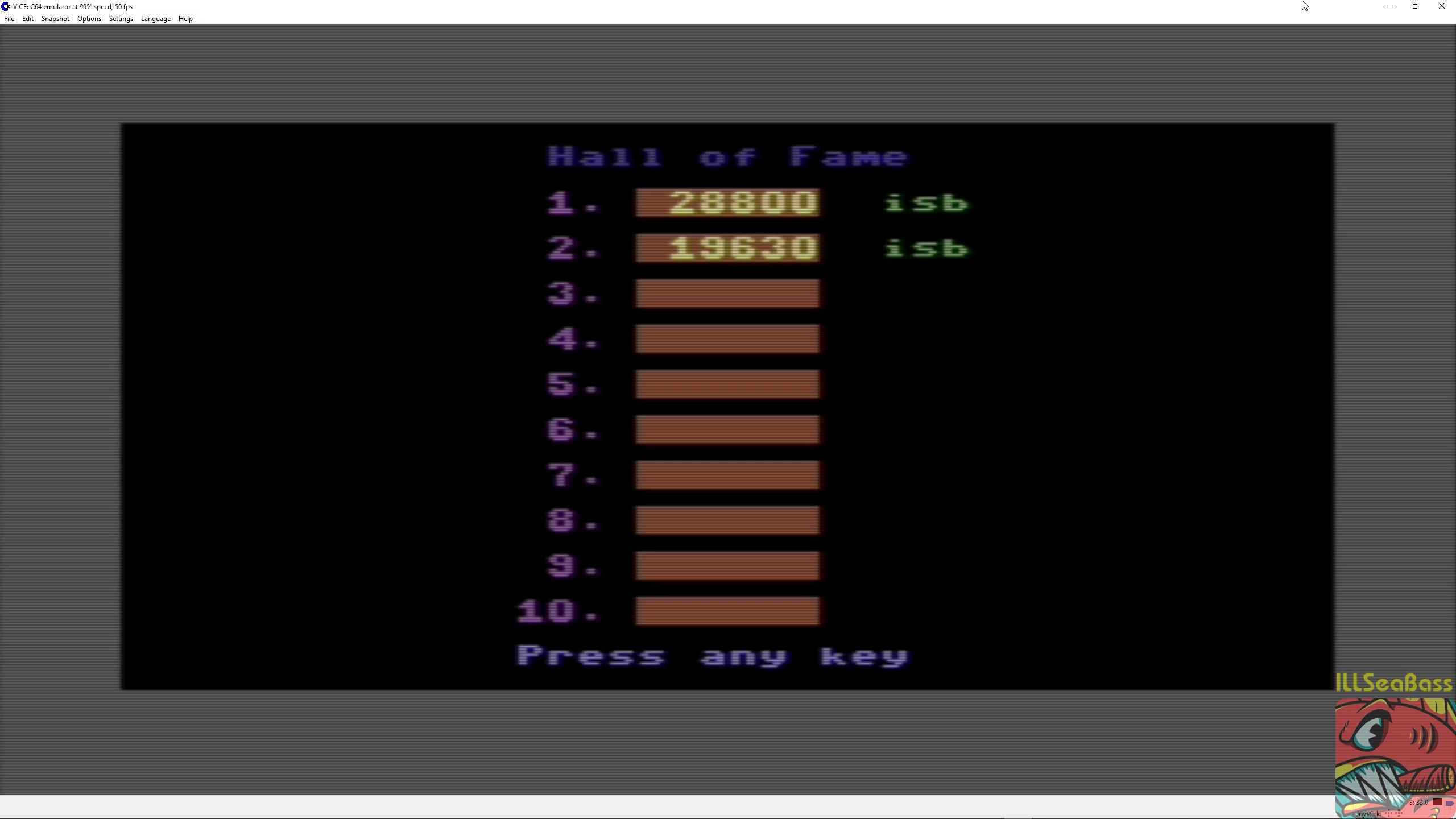 ILLSeaBass: Tazz (Commodore 64 Emulated) 28,800 points on 2018-06-15 23:22:23