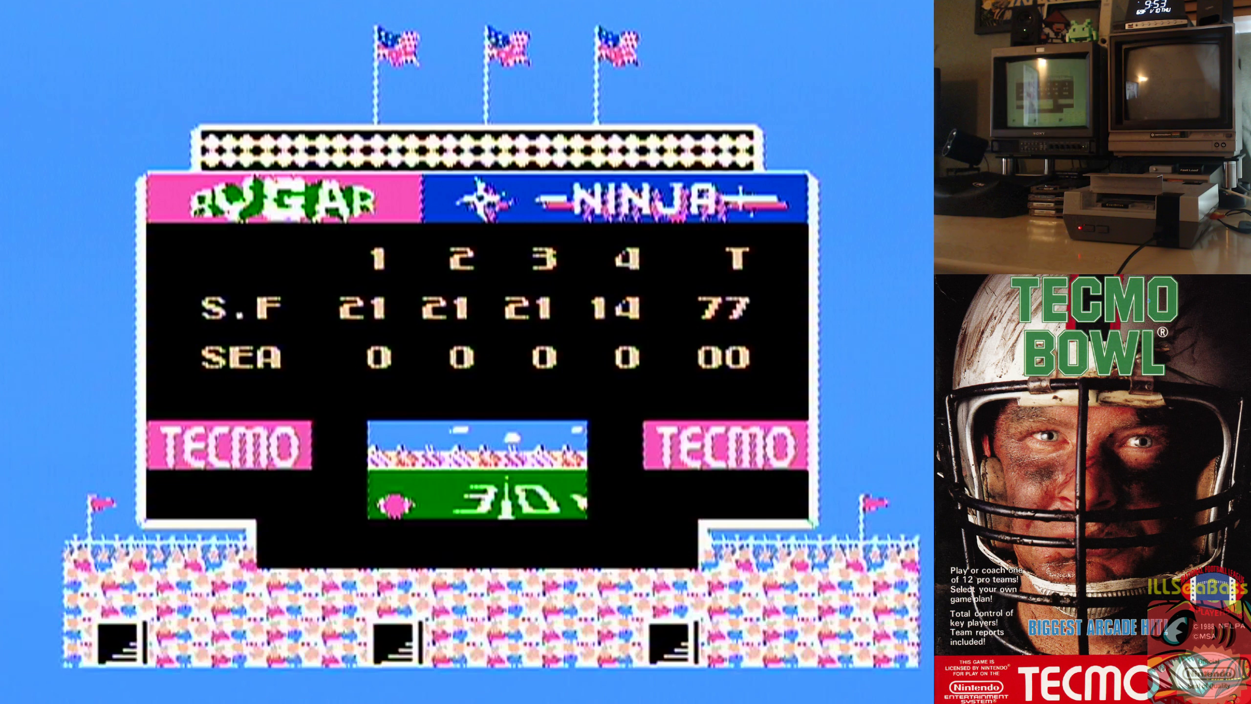 Tecmo Bowl [Point Difference] 77 points