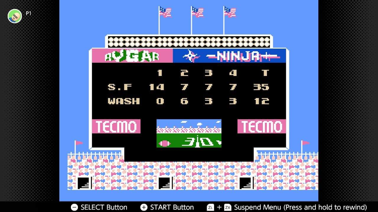 JML101582: Tecmo Bowl [Points In A Game] (NES/Famicom Emulated) 35 points on 2020-12-25 20:02:18