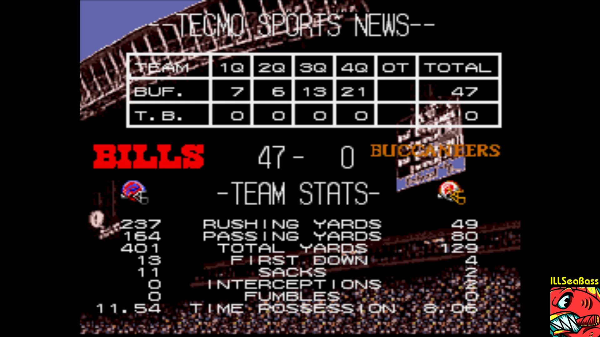 ILLSeaBass: Tecmo Super Bowl III: Final Edition [Point Differential] (Sega Genesis / MegaDrive Emulated) 47 points on 2018-01-21 10:47:44