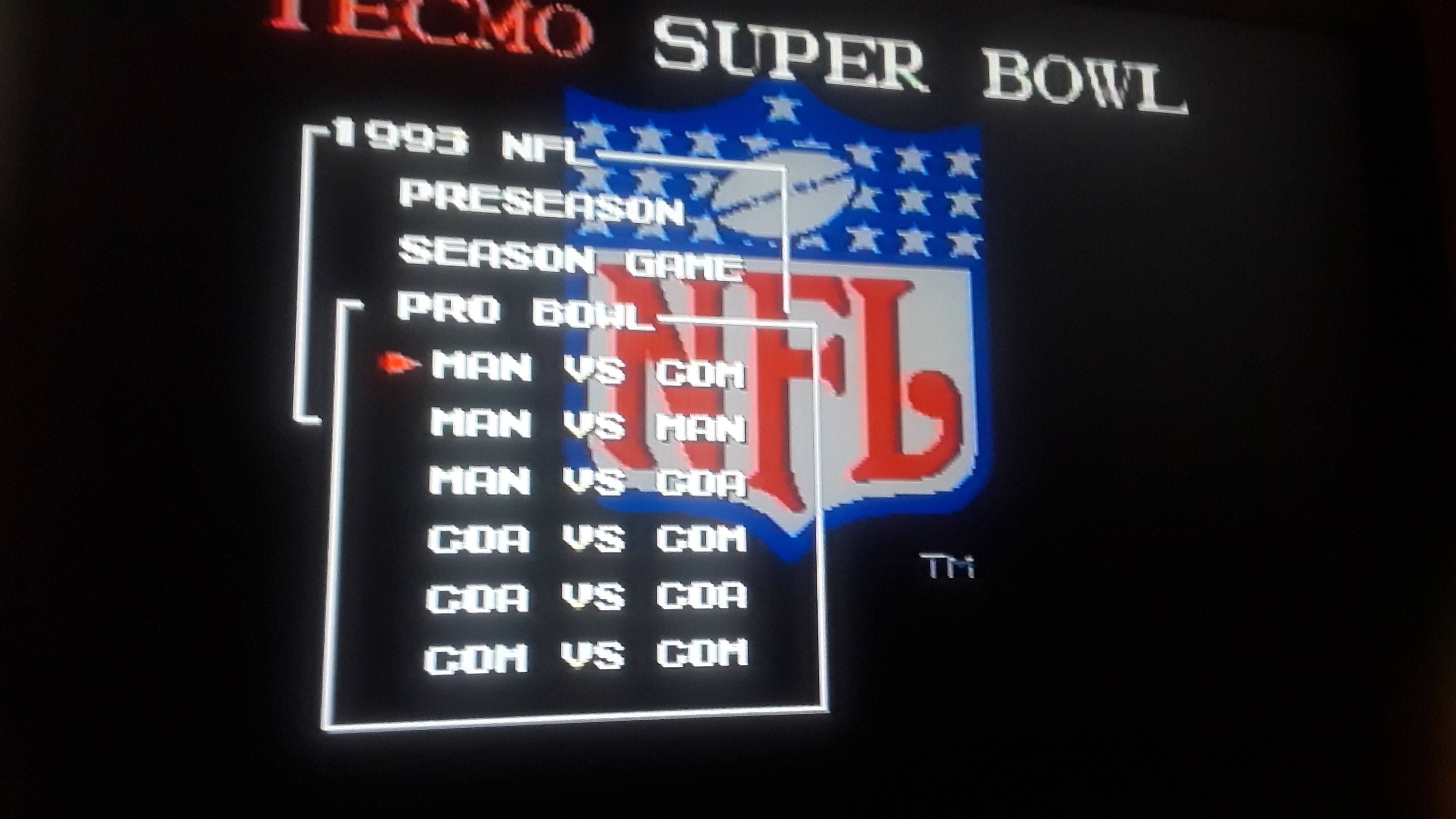 Tecmo Super Bowl [Most Passing Yards] [Pro Bowl] 694 points