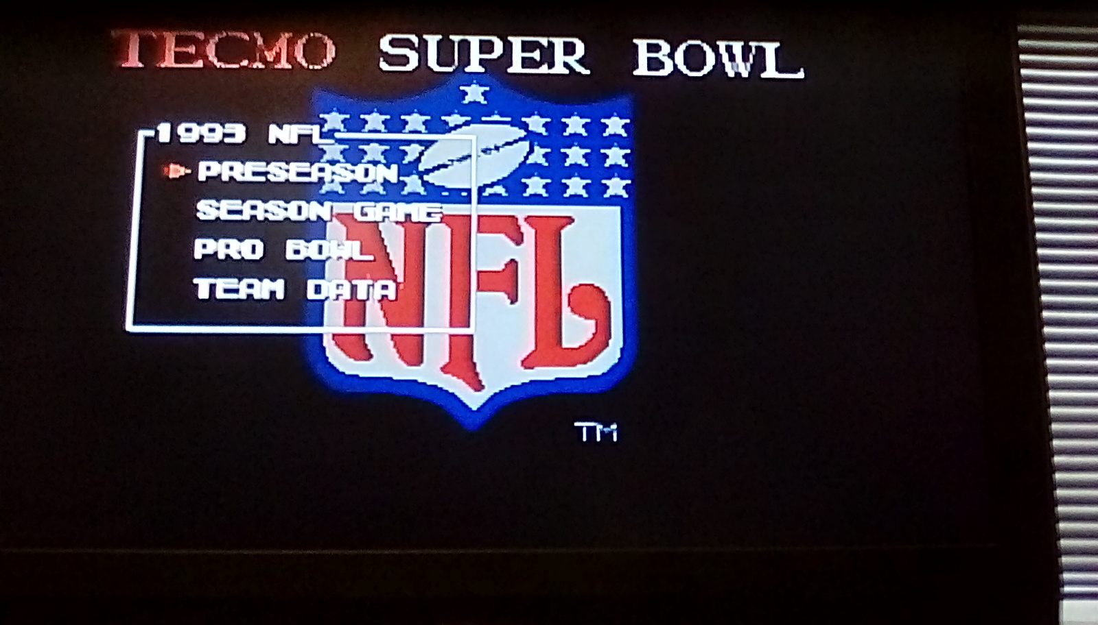 Tecmo Super Bowl [Most Receiving Yards] [Preseason game] 461 points