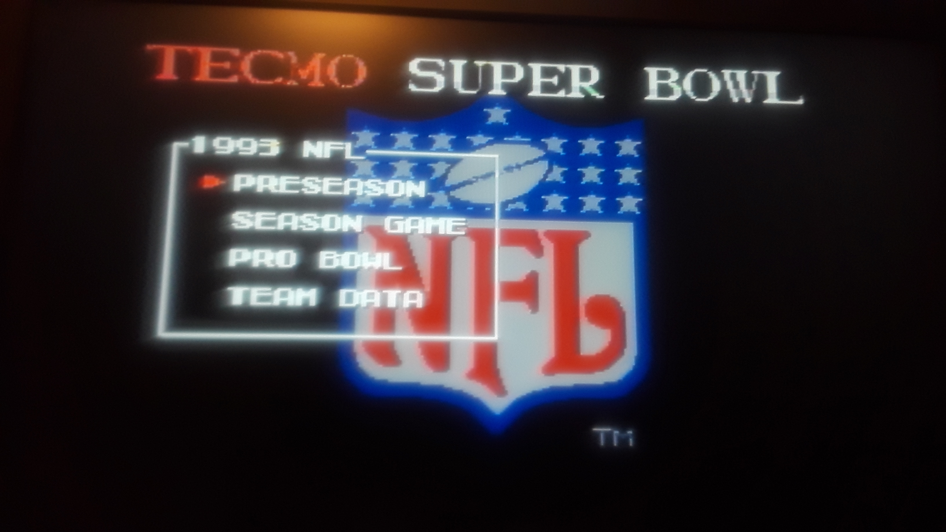Tecmo Super Bowl [Most Receptions] [Preseason Game] 15 points