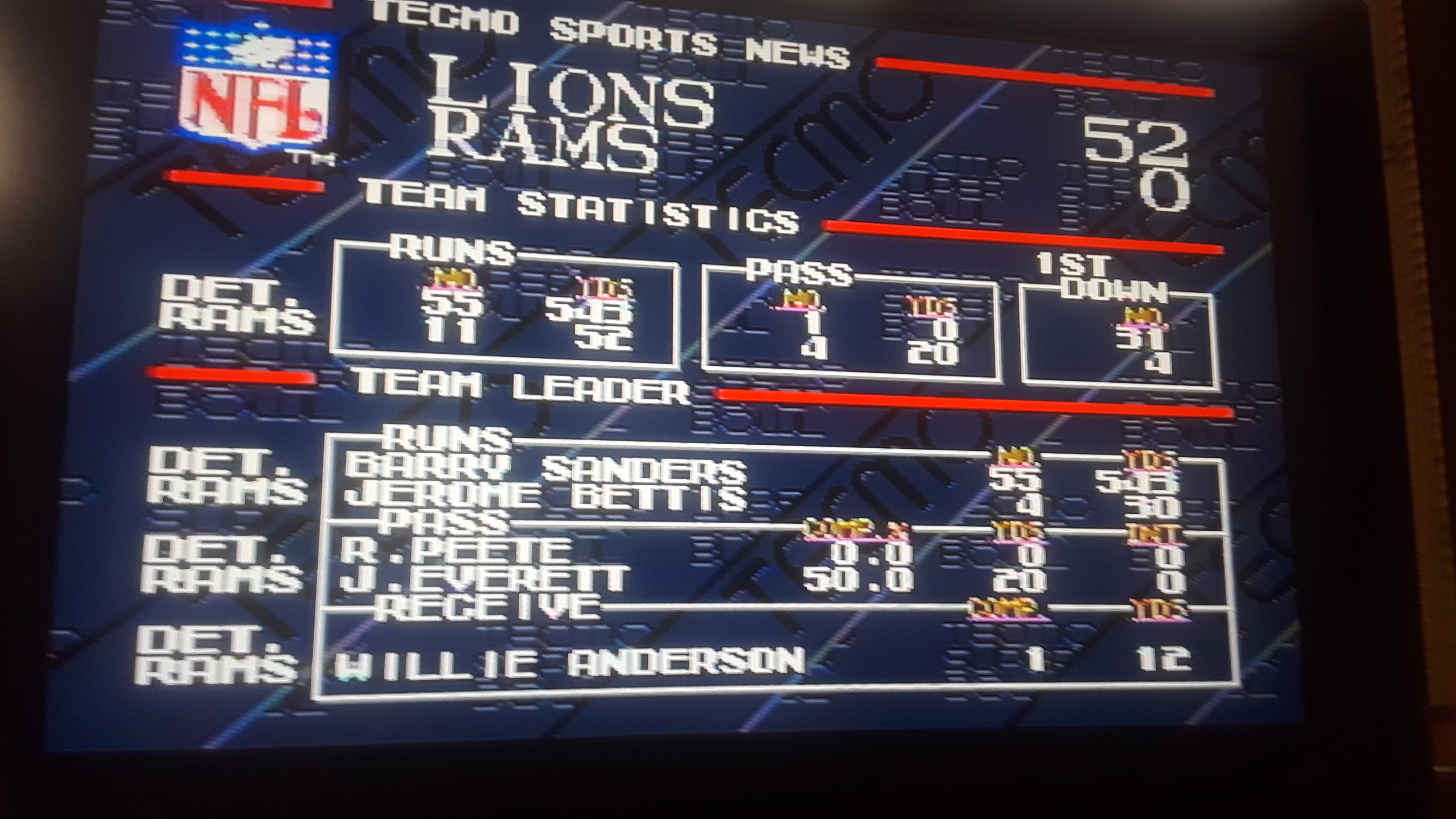 JML101582: Tecmo Super Bowl [Most Rushing Attempts In A Preseason Game] (Sega Genesis / MegaDrive Emulated) 55 points on 2019-09-05 19:21:46