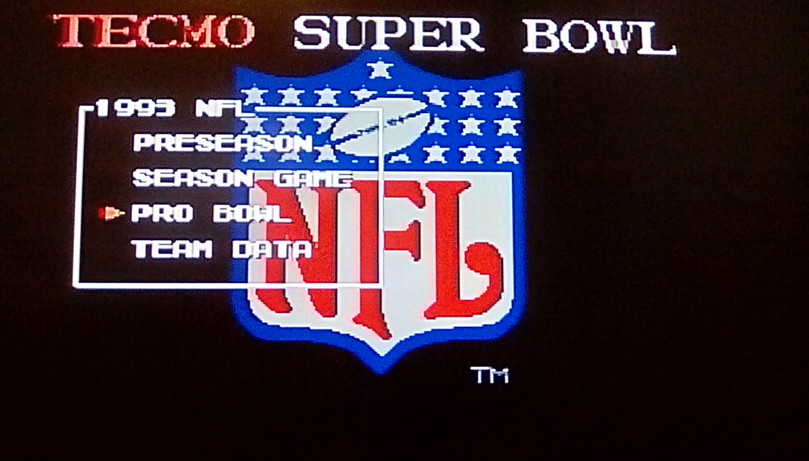 Tecmo Super Bowl [Most Rushing Yards] [Pro Bowl] 399 points