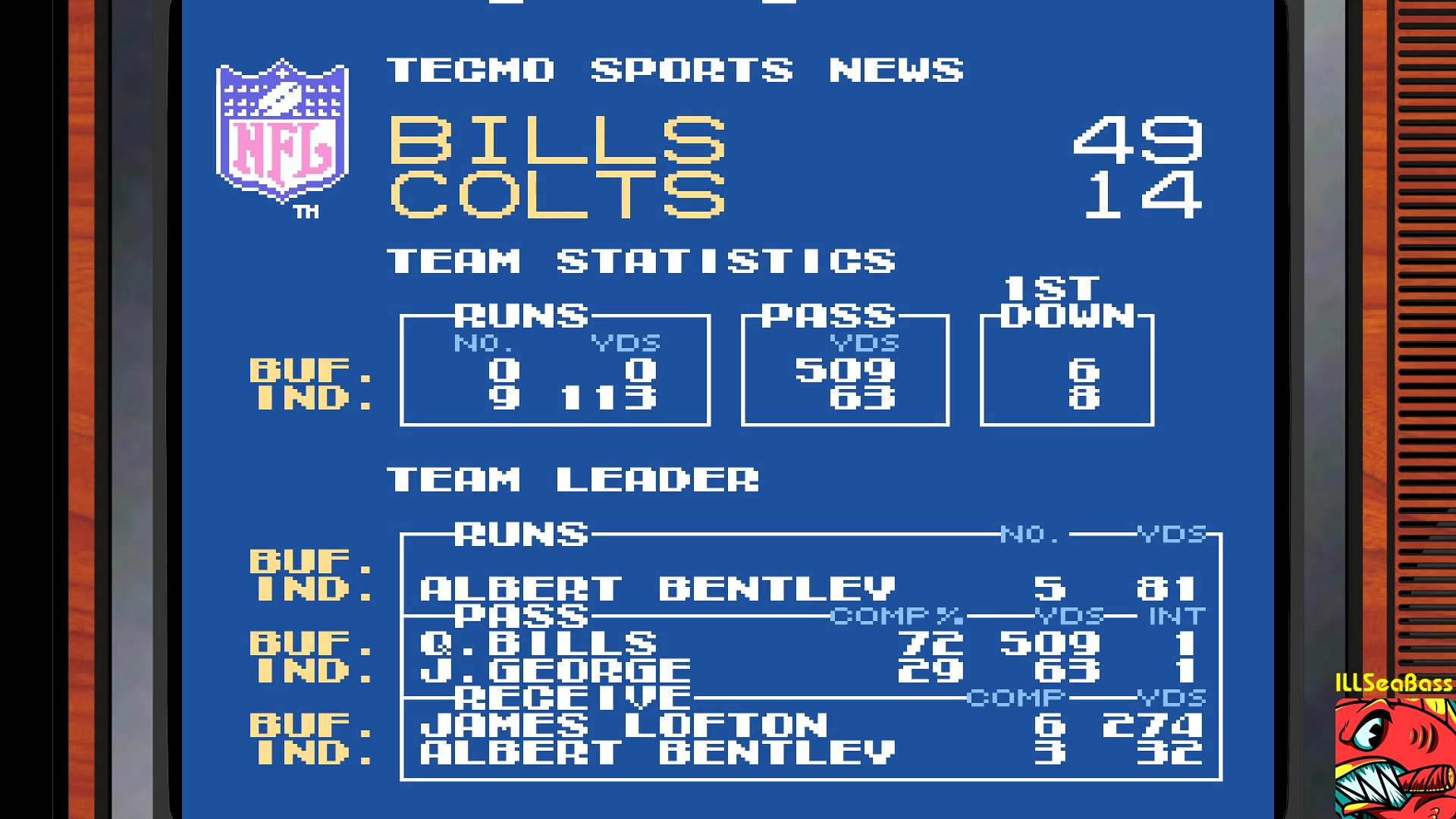 Tecmo Super Bowl [Most yards Passing In a Preseason Game] 509 points