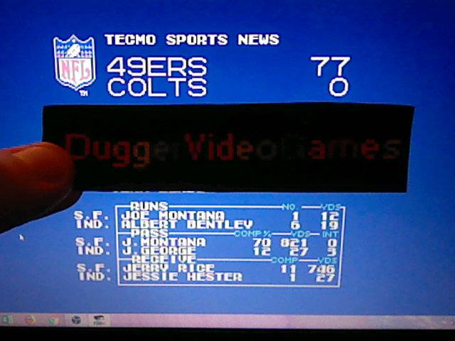 DuggerVideoGames: Tecmo Super Bowl [Most yards Passing In a Preseason Game] (NES/Famicom Emulated) 821 points on 2018-01-27 17:33:00