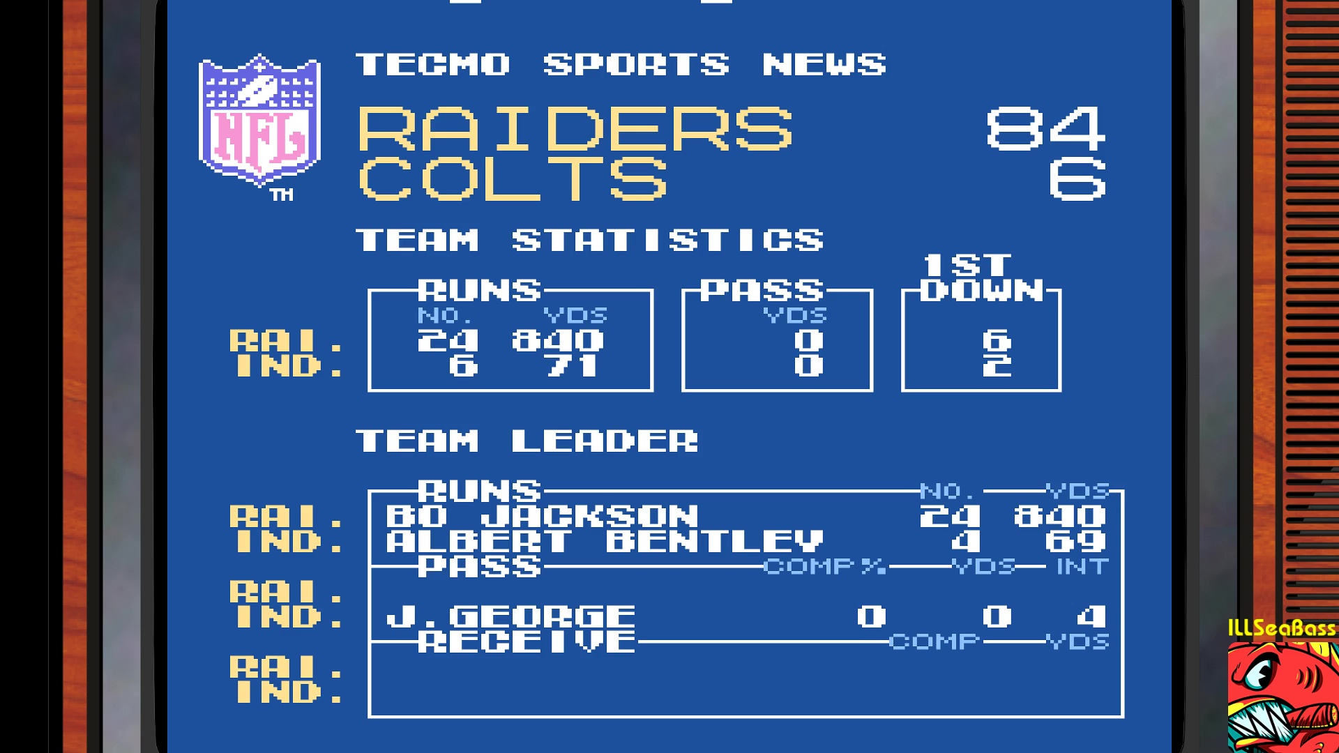 ILLSeaBass: Tecmo Super Bowl [Most yards Rushing In a Preseason Game] (NES/Famicom Emulated) 840 points on 2018-01-14 22:08:45