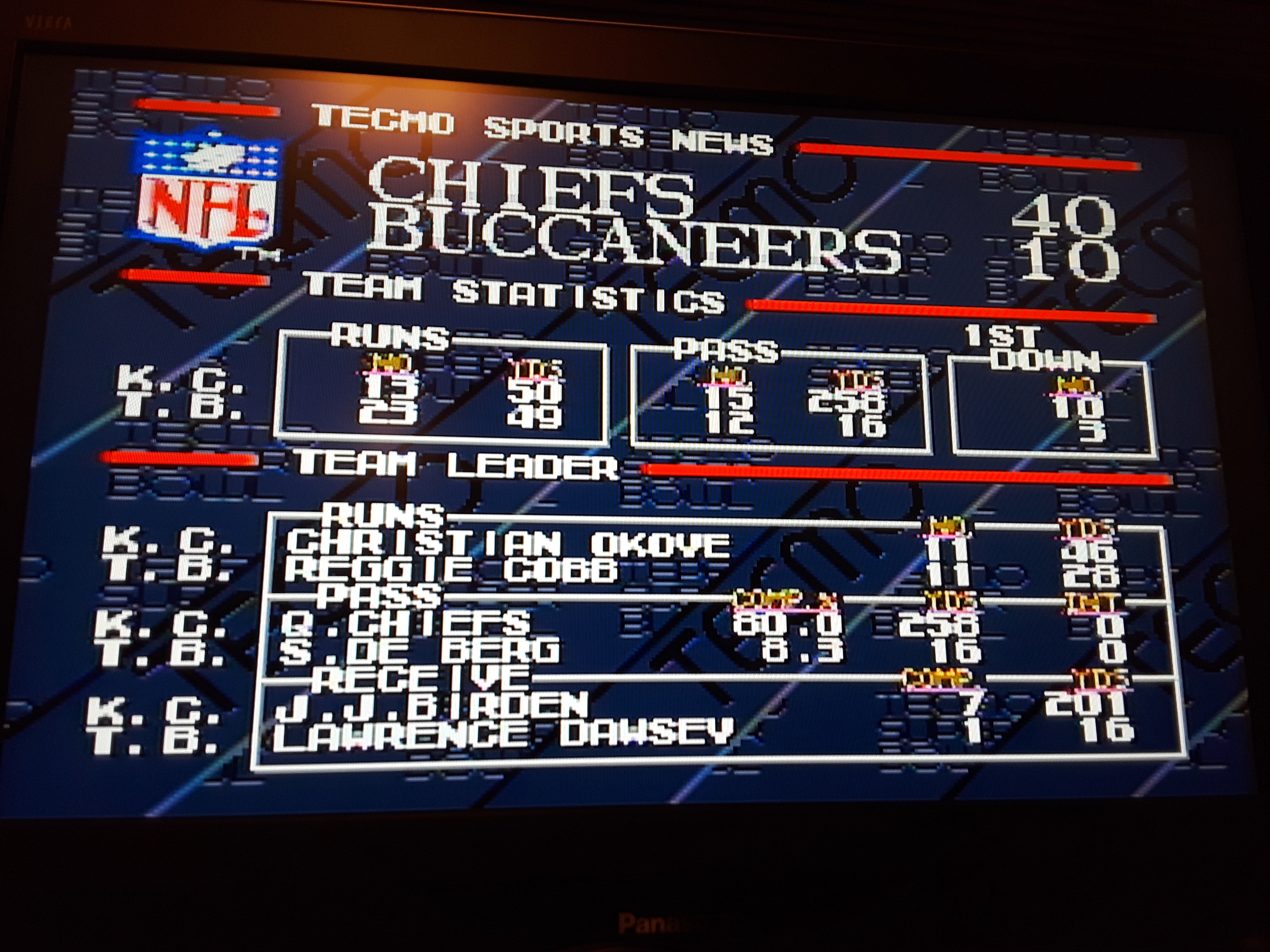 Tecmo Super Bowl [Passing Percentage In A Preseason Game] 80 points