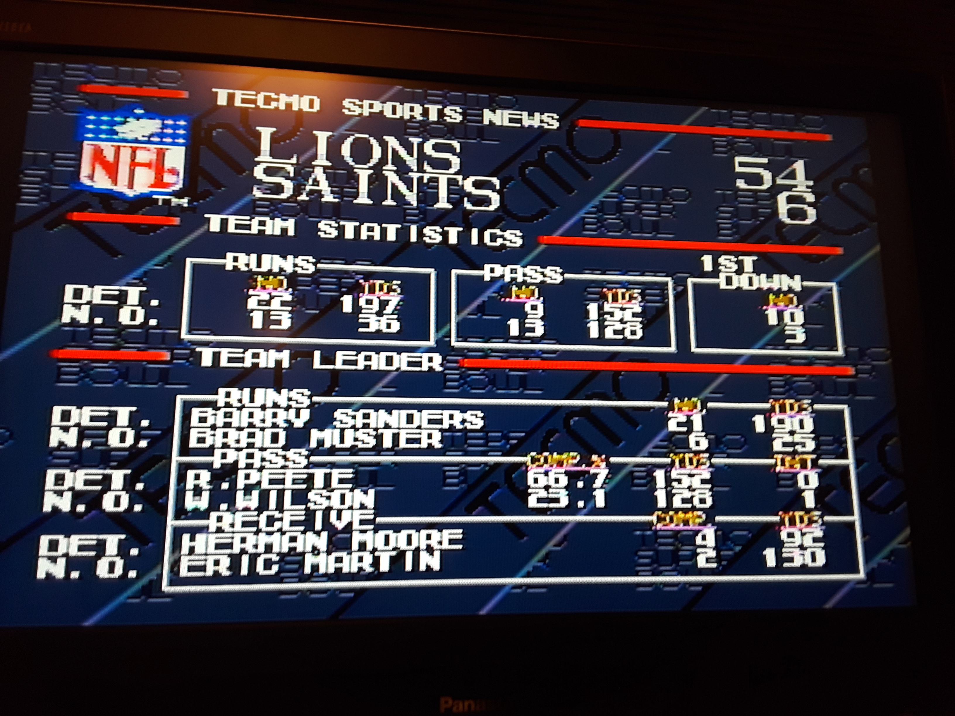 Tecmo Super Bowl [Point Difference] 48 points