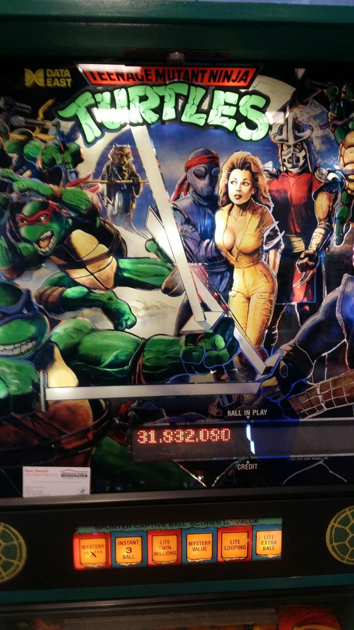 SeanStewart: Teenage Mutant Ninja Turtles (Pinball: 3 Balls) 31,832,080 points on 2017-08-11 20:37:36