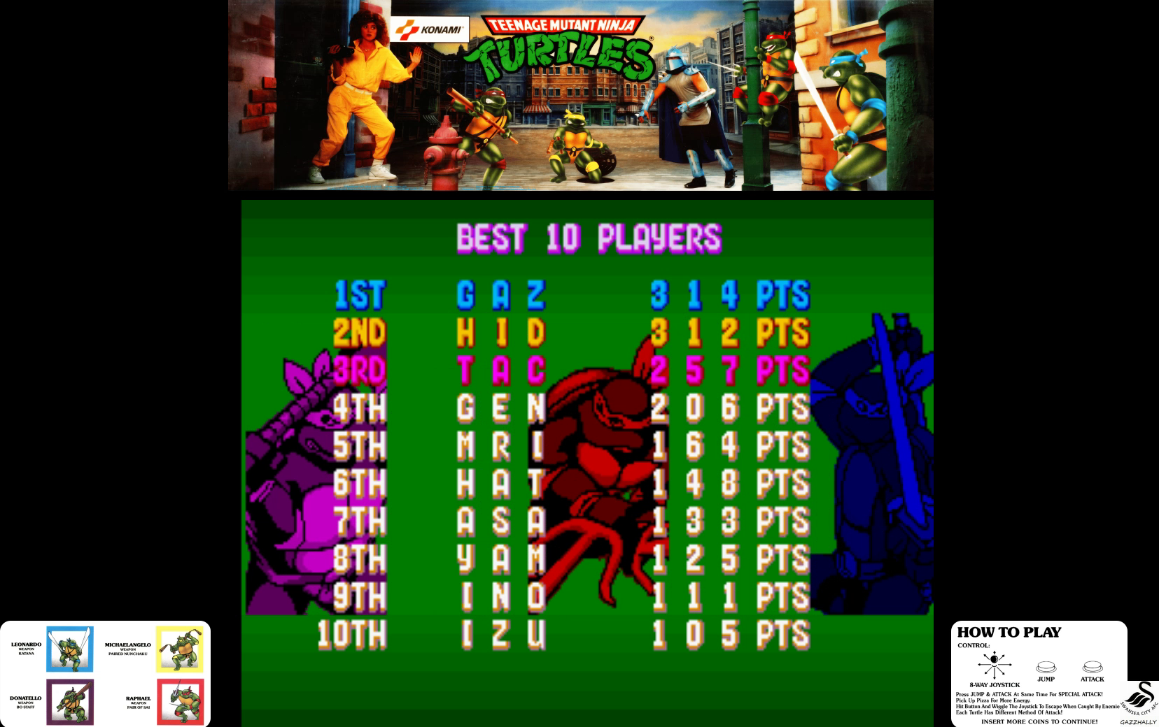 gazzhally: Teenage Mutant Ninja Turtles [tmnt] (Arcade Emulated / M.A.M.E.) 314 points on 2017-07-03 05:57:37