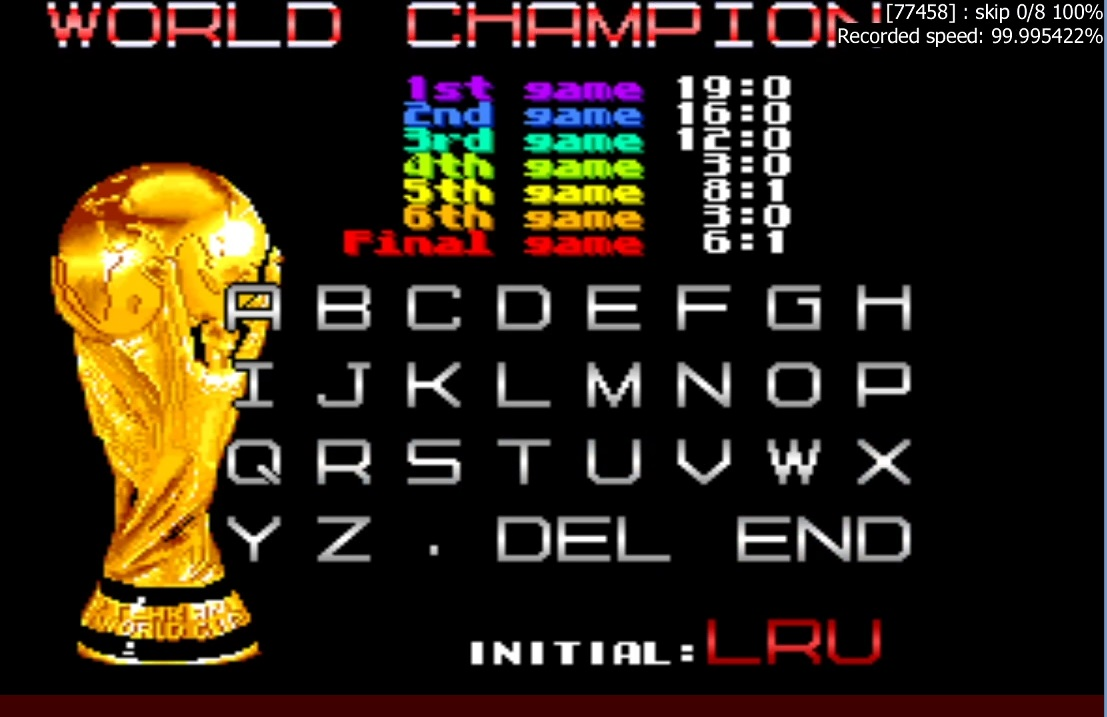 LuigiRuffolo: Tehkan World Cup: Final Match [Point Difference] [tehkanwc] (Arcade Emulated / M.A.M.E.) 5 points on 2020-12-25 05:21:14
