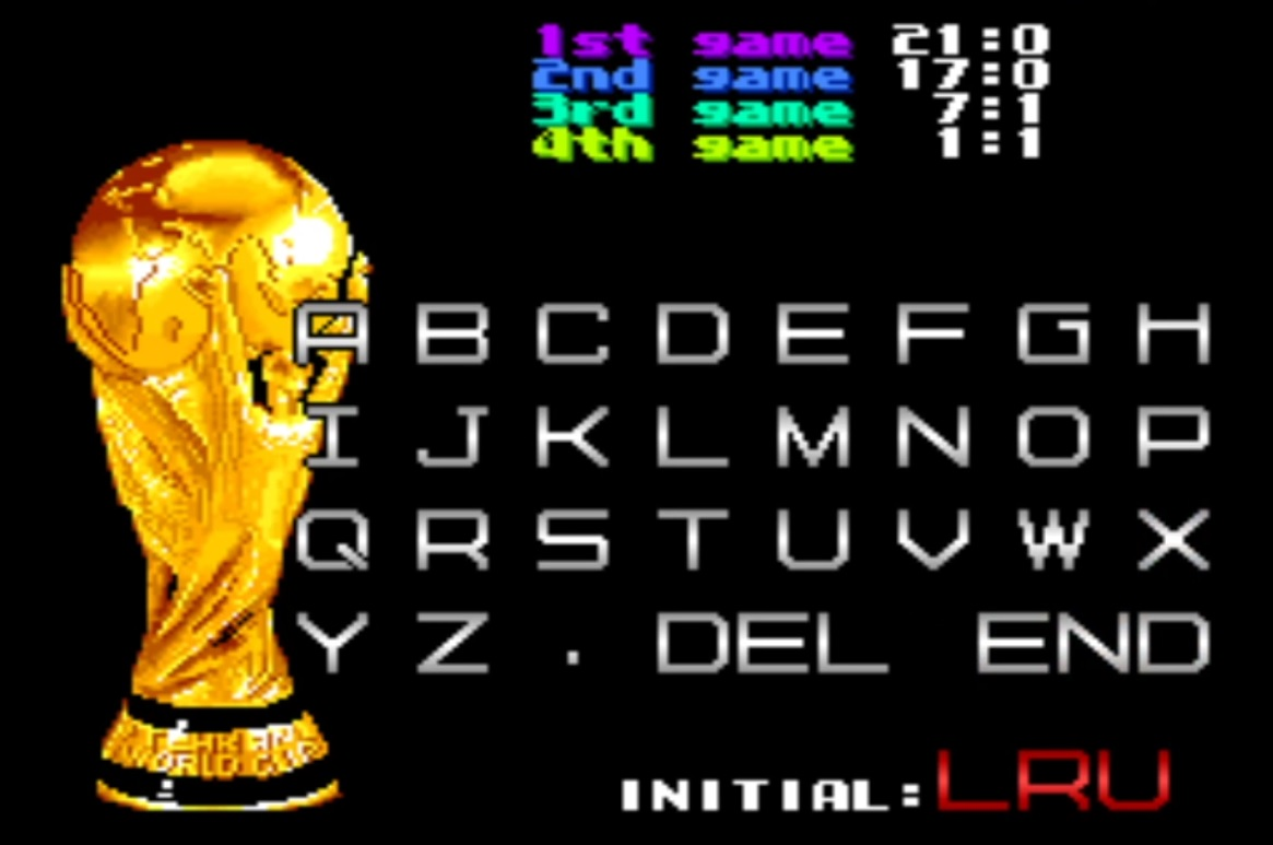 LuigiRuffolo: Tehkan World Cup: First Match [Point Difference] [tehkanwc] (Arcade Emulated / M.A.M.E.) 21 points on 2020-10-20 17:28:19