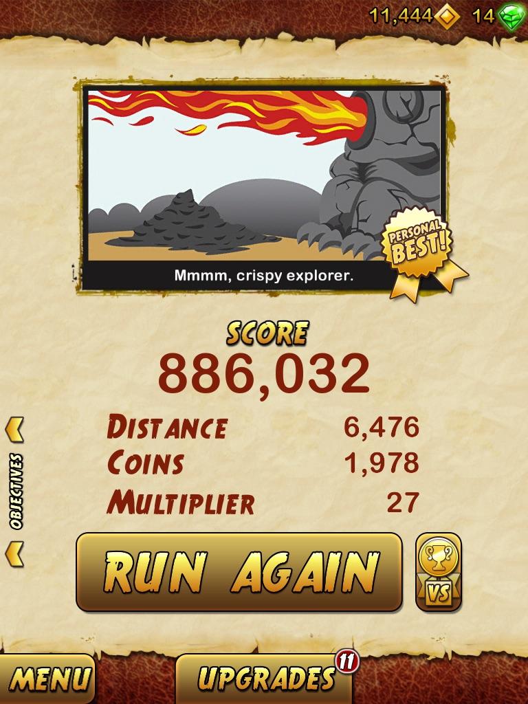 Temple Run 2 886,032 points
