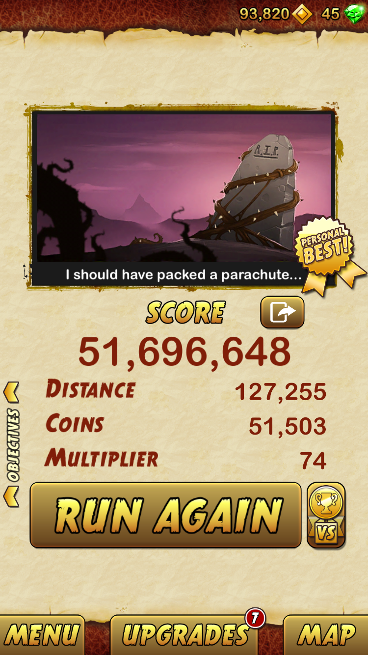 Temple Run 2 51,696,648 points
