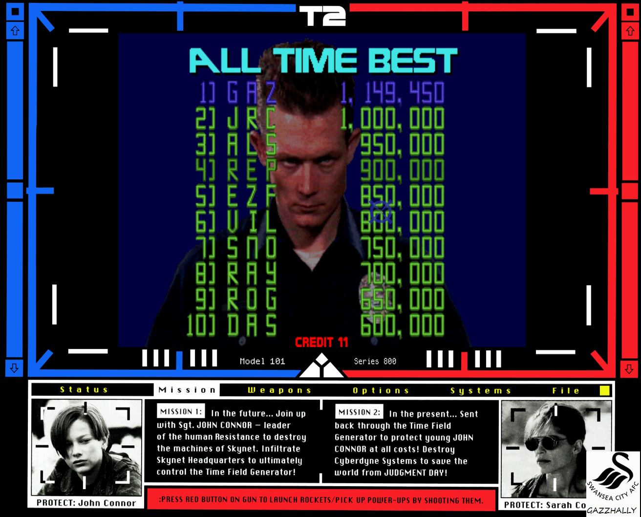 gazzhally: Terminator 2: Judgement Day (Arcade Emulated / M.A.M.E.) 1,149,450 points on 2017-01-25 11:28:47