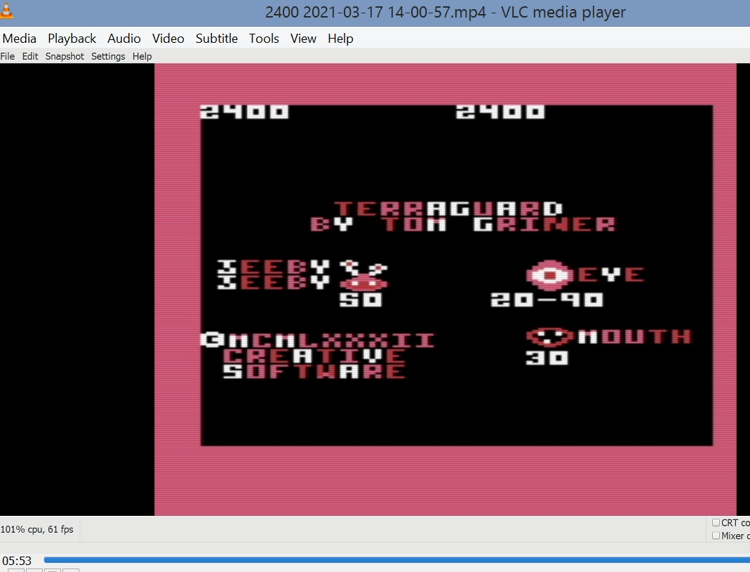 LuigiRuffolo: Terraguard (Commodore VIC-20 Emulated) 2,400 points on 2021-03-17 08:24:09